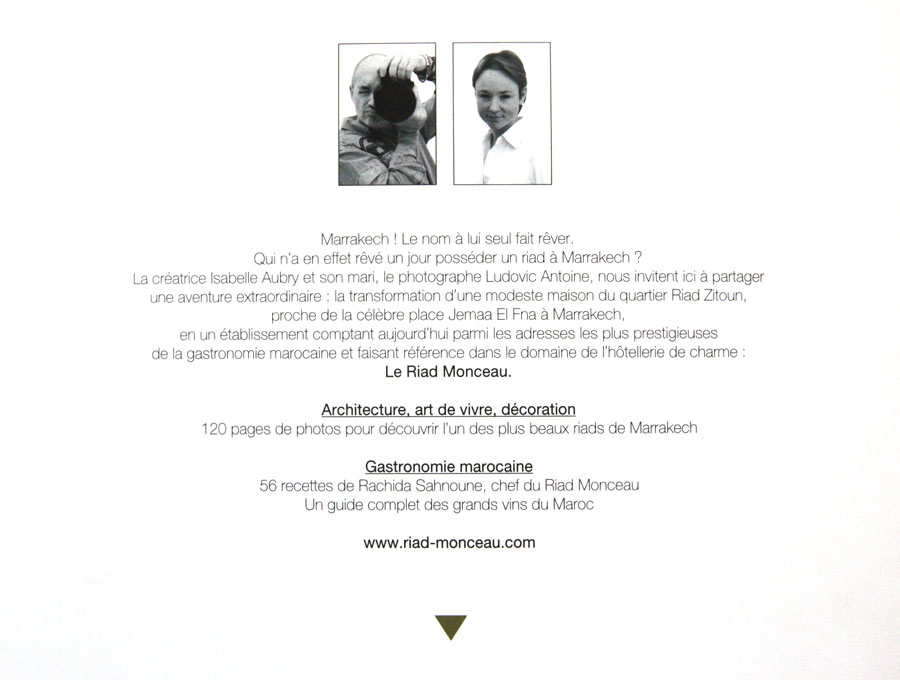 Details of Riad Monceau's book back cover